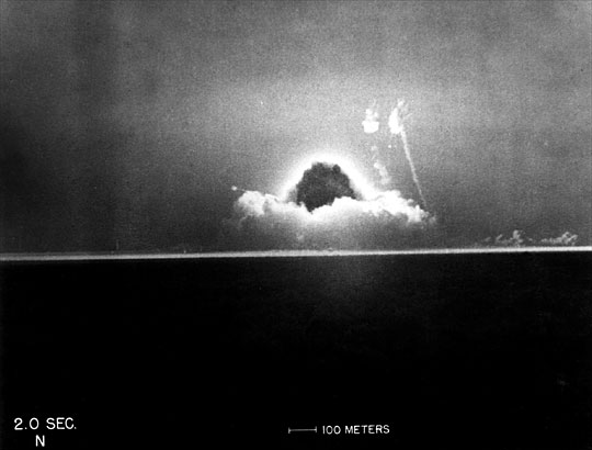 The Trinity test (the first test of an atomic weapon) explosion two seconds after detonation