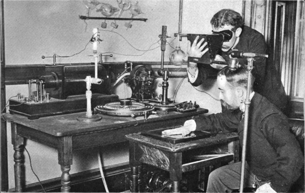 An early experiment with X-Rays in 1896, before the effects and consequences of radiation exposure were understood