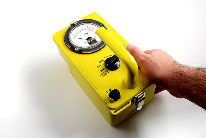 "A classic ""geiger counter"" radiation survey meter, used to measure dose rates of radiation in a given area"