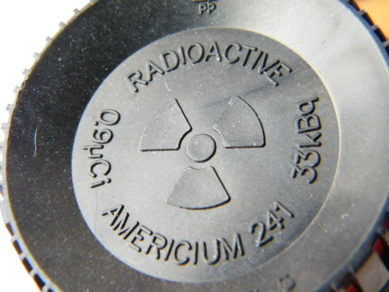An Americium-241 source from a smoke detector